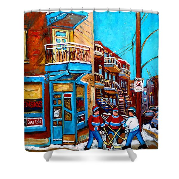 MONTREAL CITY SCENE HOCKEY AT WILENSKYS Shower Curtain by CAROLE SPANDAU