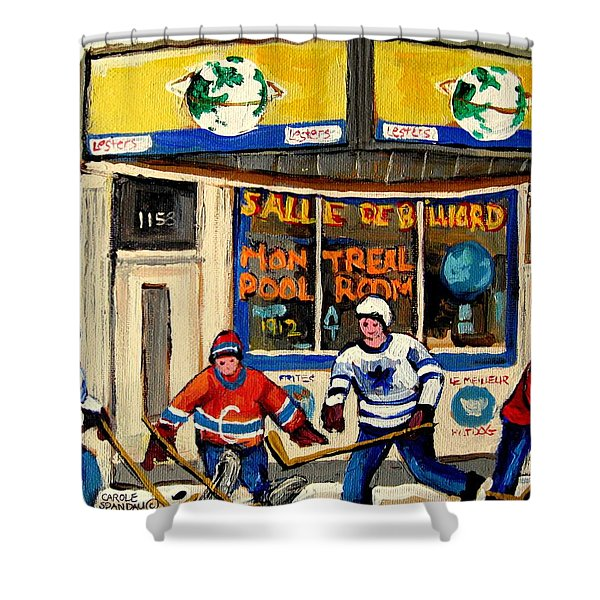MONTREAL POOLROOM HOCKEY FANS Shower Curtain by CAROLE SPANDAU