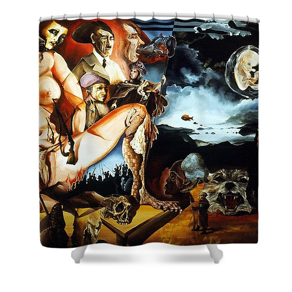 MONUMENT TO THE UNBORN WAR HERO Shower Curtain by Otto Rapp