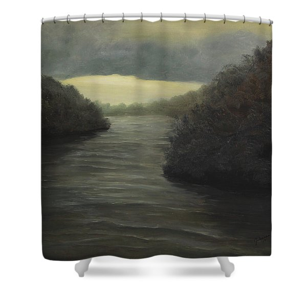 Moody River Shower Curtain by Johanna Lerwick