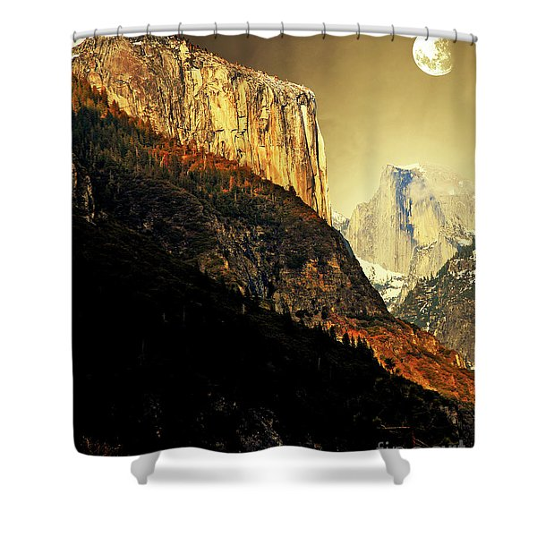Moon Over Half Dome . Portrait Cut Shower Curtain by Wingsdomain Art and Photography