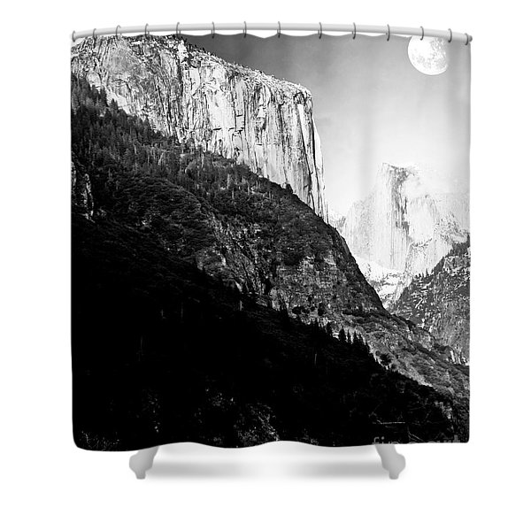 Moon Over Half Dome . Black and White Shower Curtain by Wingsdomain Art and Photography