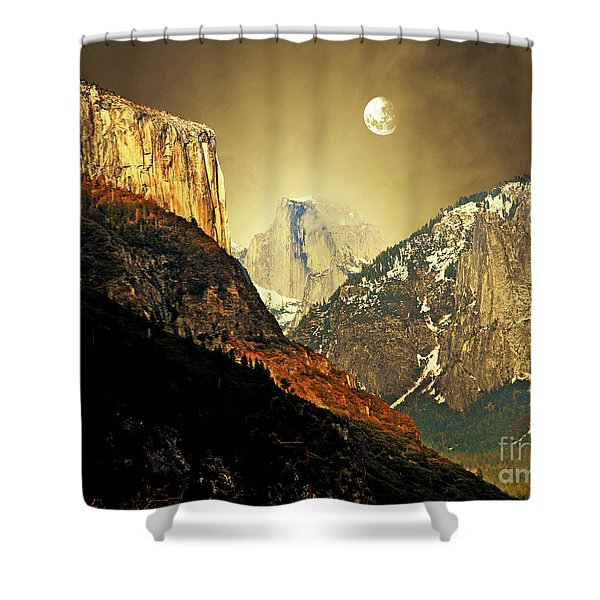 Moon Over Half Dome Shower Curtain by Wingsdomain Art and Photography