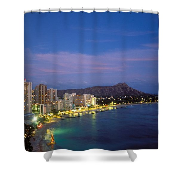 Moon Over Waikiki Shower Curtain by William Waterfall - Printscapes