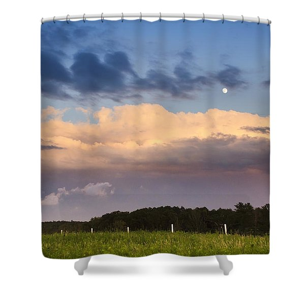 Moon Rise Over Country Fields Sunset Landscape Shower Curtain by Christina Rollo