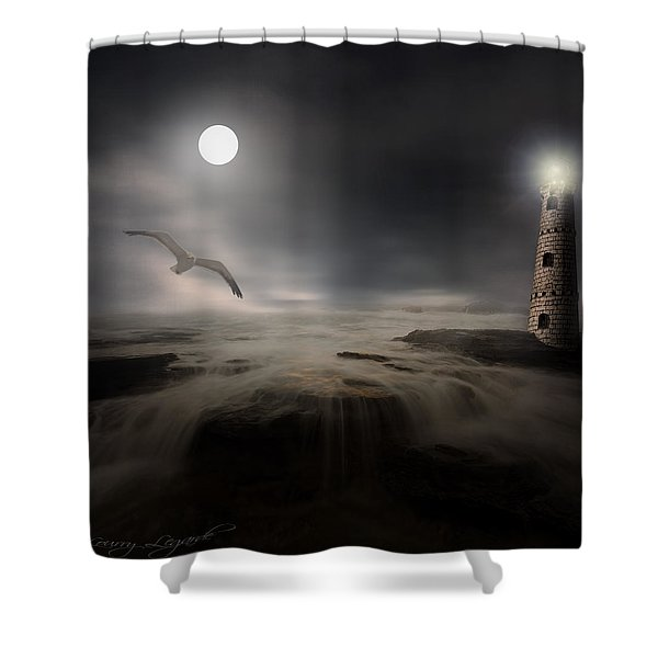 Moonlight Lighthouse Shower Curtain by Lourry Legarde