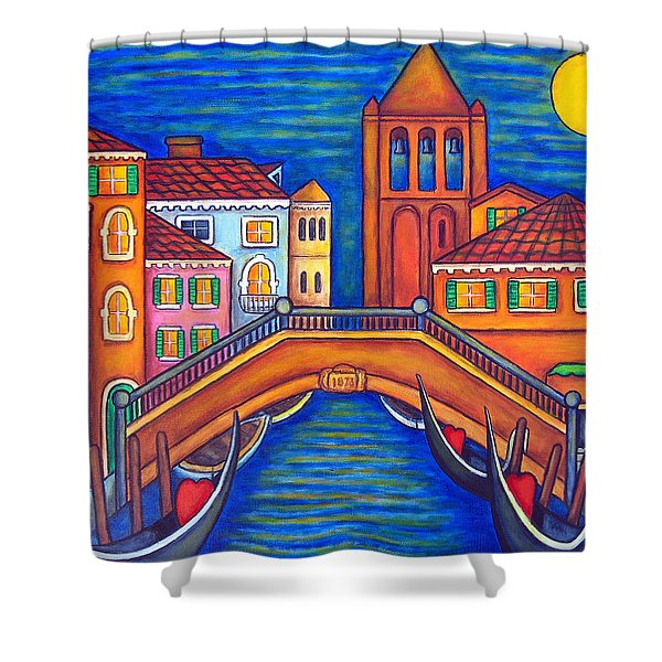 Moonlit San Barnaba Shower Curtain by Lisa  Lorenz