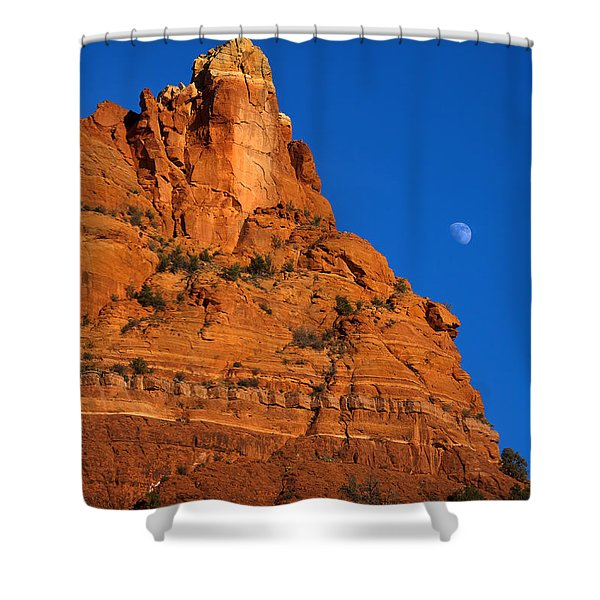 Moonrise over Red Rock Shower Curtain by Mike  Dawson