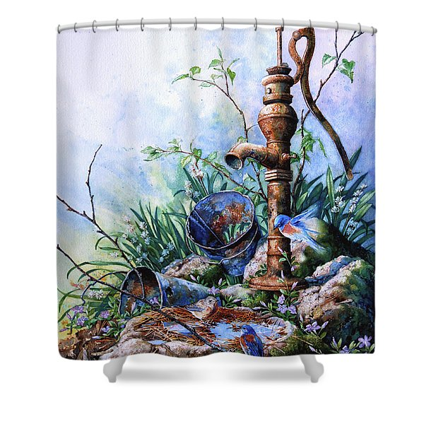 Morning Shower Shower Curtain by Hanne Lore Koehler
