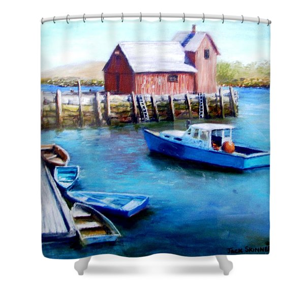 Motif One Rockport Harbor Shower Curtain by Jack Skinner