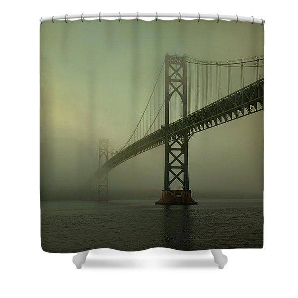Mount Hope Bridge Shower Curtain by Dave Gordon