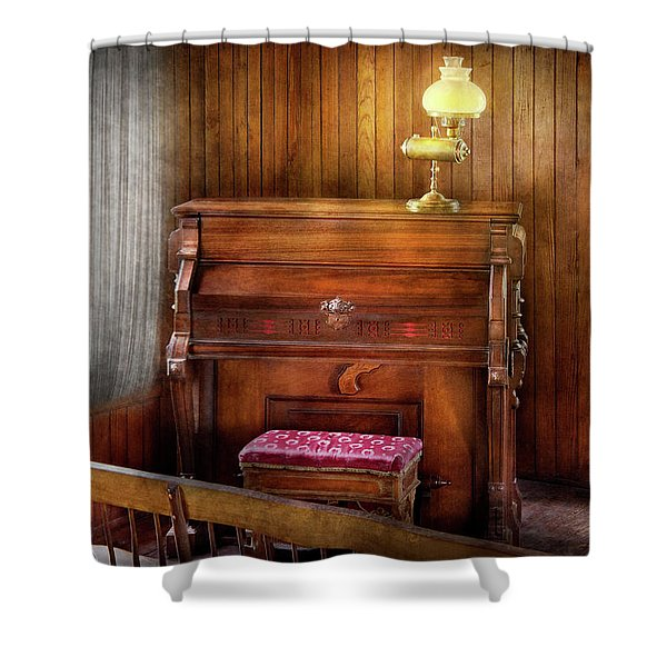 Music - Organist - A Vital Organ Shower Curtain by Mike Savad