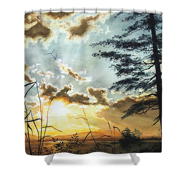 Muskoka Dawn Shower Curtain by Hanne Lore Koehler