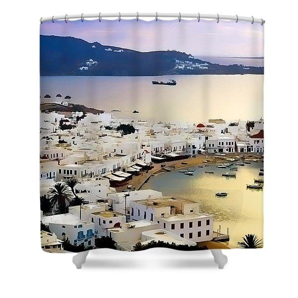 Mykonos Greece Shower Curtain by Dean Wittle