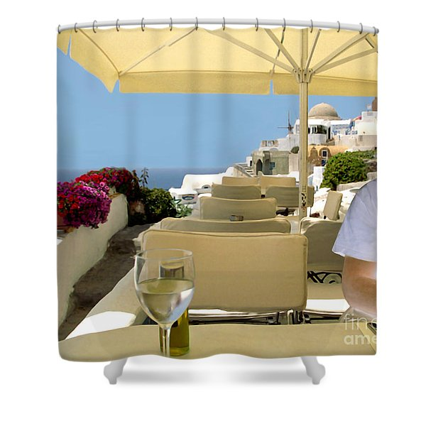Mykonos Restaurant Shower Curtain by Madeline Ellis