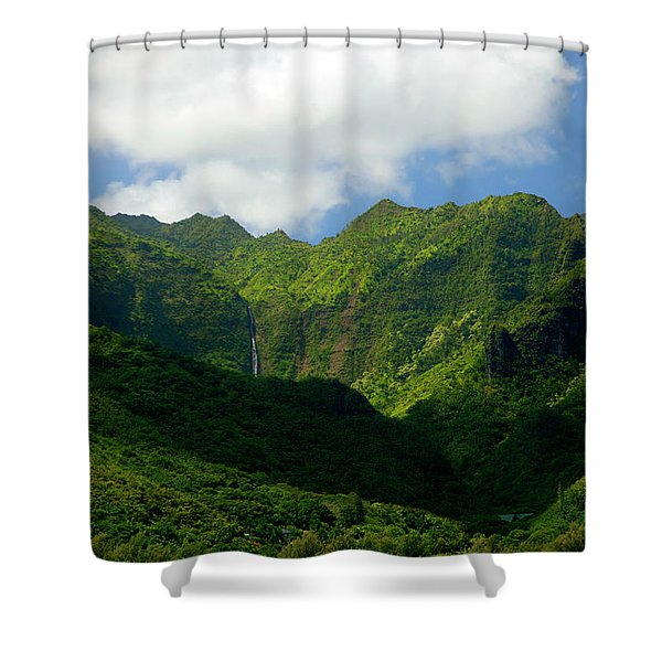 Na Pali Green Shower Curtain by Mike  Dawson