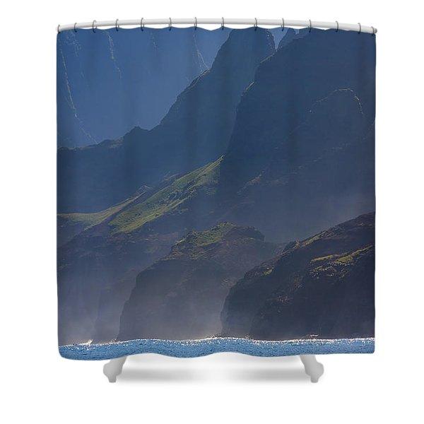 Na Pali Morning Mist Shower Curtain by Mike  Dawson