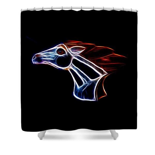 Neon Bronco II Shower Curtain by Shane Bechler
