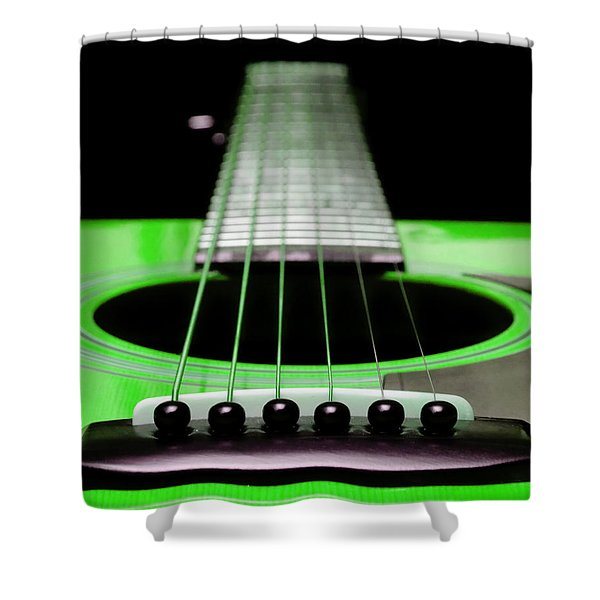 Neon Green Guitar 18 Shower Curtain by Andee Design