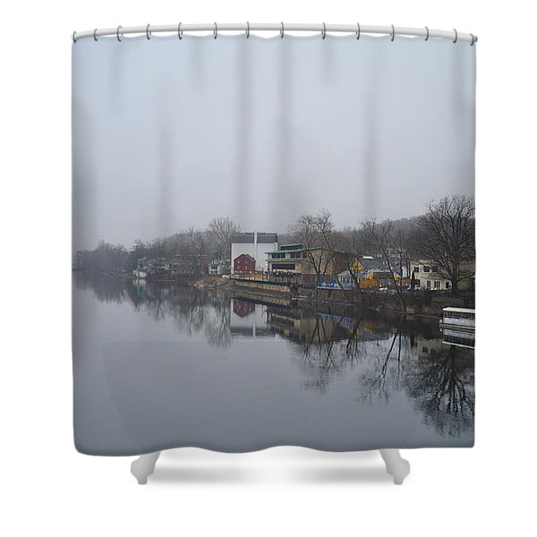 New Hope River View on a Misty Day Shower Curtain by Bill Cannon