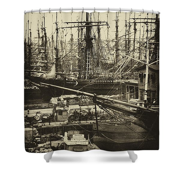 New York City Docks - 1800s Shower Curtain by Paul W Faust -  Impressions of Light