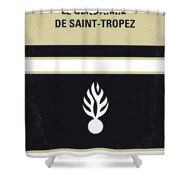 No186 My Le Gendarme de Saint-Tropez minimal movie poster Shower Curtain by Chungkong Art