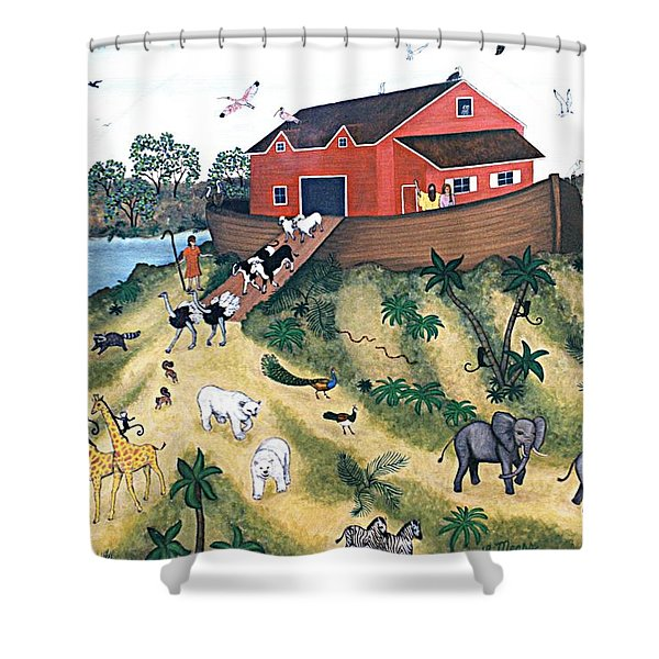 Noah's Ark Shower Curtain by Linda Mears
