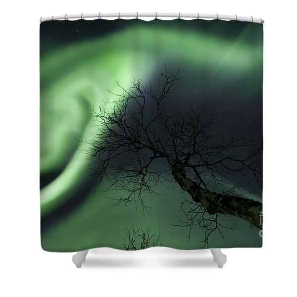 Northern Lights In The Arctic Shower Curtain by Arild Heitmann