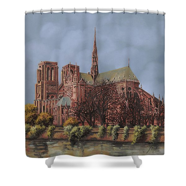 Notre-dame Shower Curtain by Guido Borelli