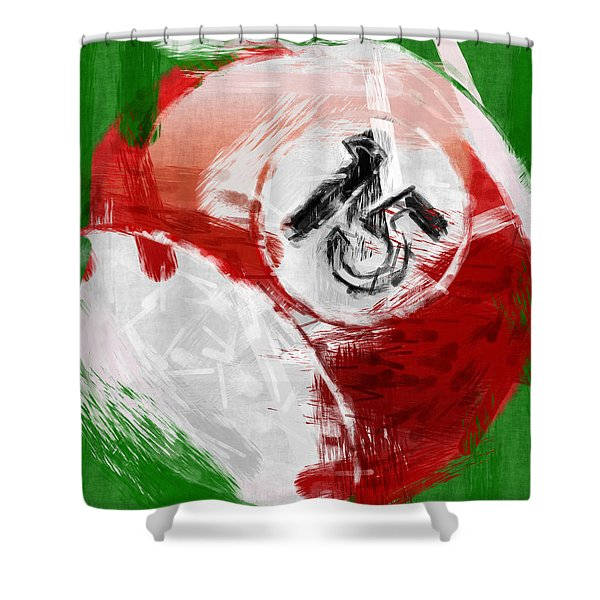 Number Fifteen Billiards Ball Abstract Shower Curtain by David G Paul