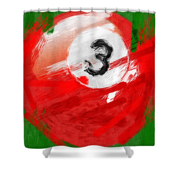Number Three Billiards Ball Abstract Shower Curtain by David G Paul