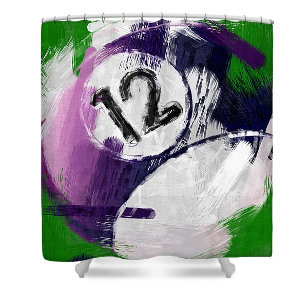Number Twelve Billiards Ball Abstract Shower Curtain by David G Paul