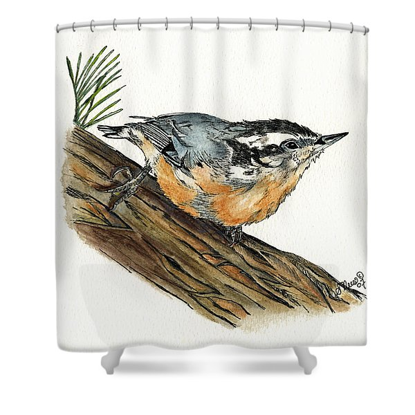 Nuthatch Shower Curtain by Shari Nees