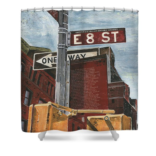 NYC 8th Street Shower Curtain by Debbie DeWitt