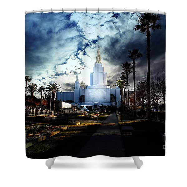 Oakland California Temple . The Church of Jesus Christ of Latter-Day Saints Shower Curtain by Wingsdomain Art and Photography