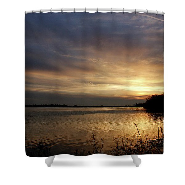 Ohio River Sunset Shower Curtain by Sandy Keeton