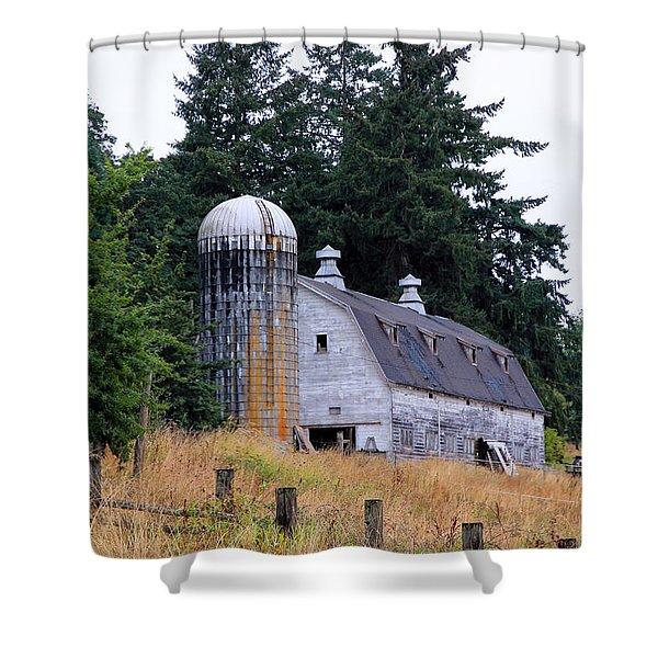 Old Barn in Field Shower Curtain by Athena Mckinzie