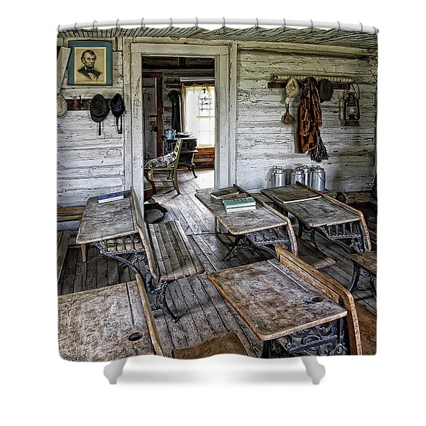 OLDEST SCHOOL HOUSE c. 1863 - MONTANA TERRITORY Shower Curtain by Daniel Hagerman