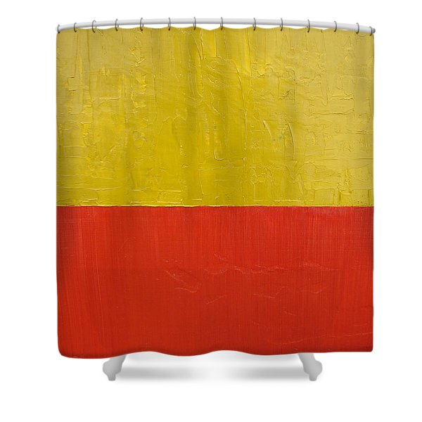 Olive Fire Engine Red Shower Curtain by Michelle Calkins