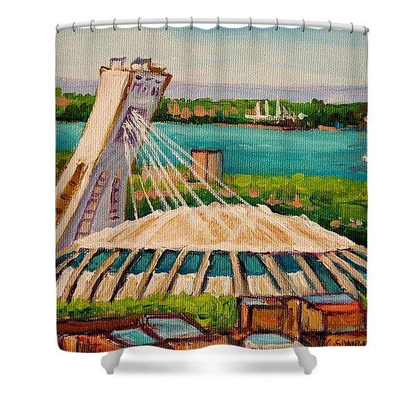 Olympic Stadium  Montreal Shower Curtain by Carole Spandau