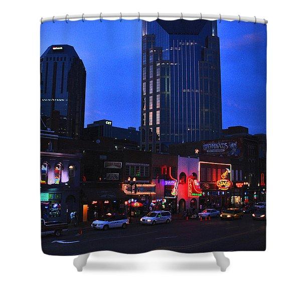 On Broadway In Nashville Shower Curtain by Susanne Van Hulst