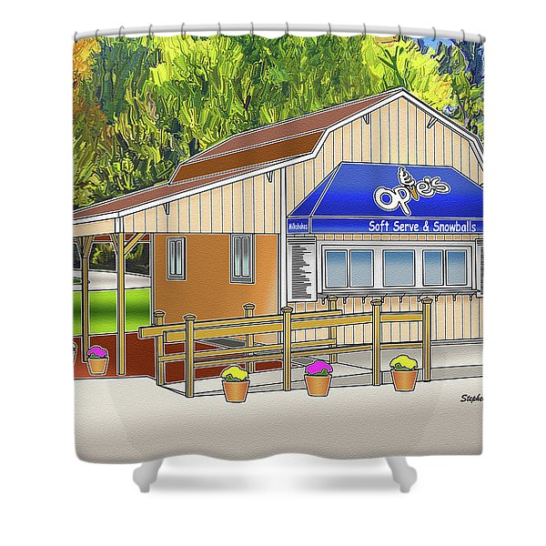 Opie's Snowball Stand Shower Curtain by Stephen Younts
