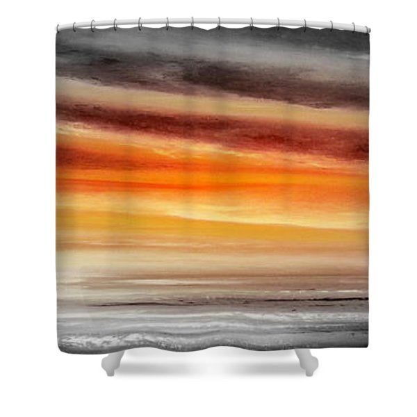 Shower Curtains - Orange Sunset - Panoramic Shower Curtain by Gina De Gorna