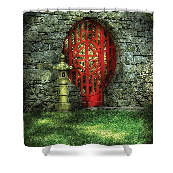 Orient - Door - The Moon Gate Shower Curtain by Mike Savad