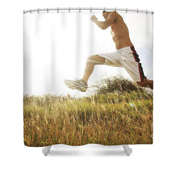 Outdoor Jogging III Shower Curtain by Brandon Tabiolo - Printscapes