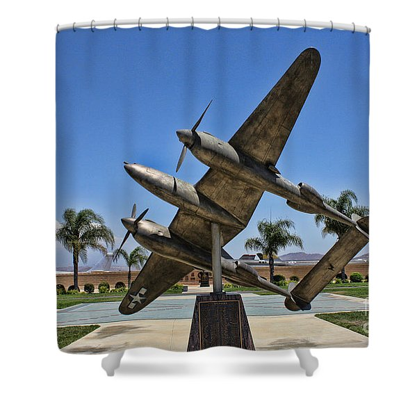 P-38 Memorial March Field Museum Shower Curtain by Tommy Anderson