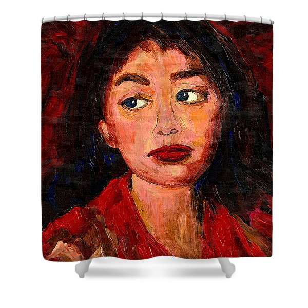 Painting Of A Dark Haired Girl Commissioned Art Shower Curtain by Carole Spandau
