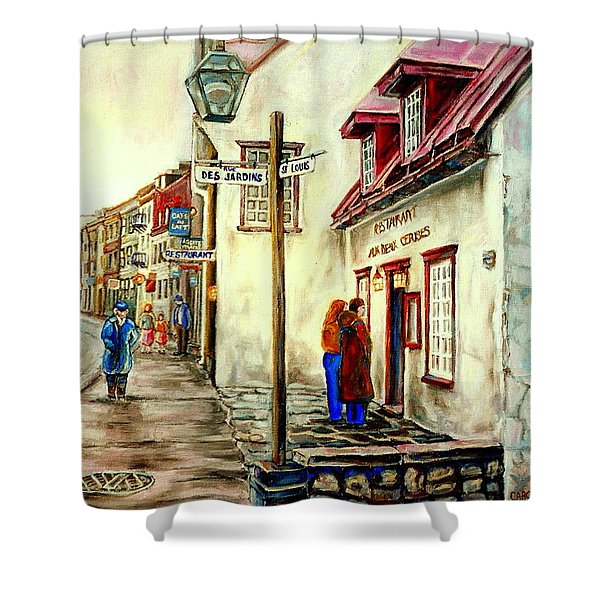 PAINTINGS OF QUEBEC LANDMARKS AUX ANCIENS CANADIENS RESTAURANT RAINY MORNING OCTOBER CITY SCENE  Shower Curtain by CAROLE SPANDAU