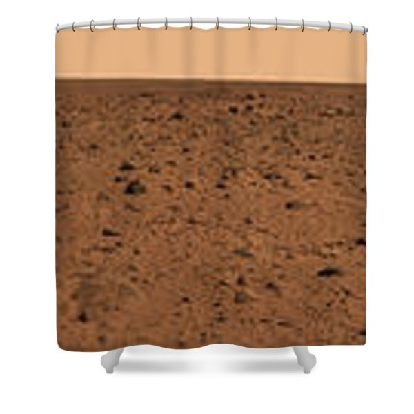 Panoramic View Of Bonneville Crater Shower Curtain by Stocktrek Images