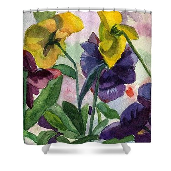 Pansy Field Shower Curtain by Lynne Reichhart
